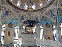 Inside the Kol Sharif Mosque in the Kazan Kremlin in the republic Tatarstan in Russia. Tourists are standing on a special balcony for guests. The shot was made Royalty Free Stock Photo