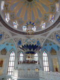 Inside the Kol Sharif Mosque in the Kazan Kremlin in the republic Tatarstan in Russia. Tourists are standing on a special balcony for guests. The shot was made royalty free stock photos