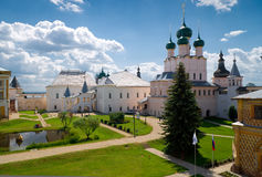Inside Kremlin of ancient town of Rostov. Red House and the Church of St. John the Evangelist in Kremlin of ancient town of Rostov the Great, Russia Stock Image