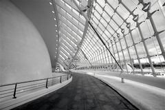 Inside L'Hemisferic in City of Arts and Sciences. A view inside L'Hemisfèric in the City of Arts and Sciences in Valencia, Spain, in black and white stock images