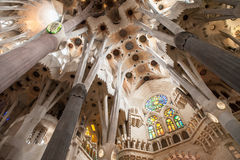 Inside La Sagrada Familia Stock Photography