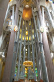 Inside La Sagrada Familia. Church in Barcelona stock photos
