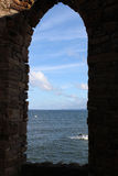 From inside Lady Tower to Bass Rock Firth of Forth Royalty Free Stock Photography