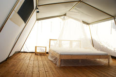 Inside a large luxurious tent Stock Photography