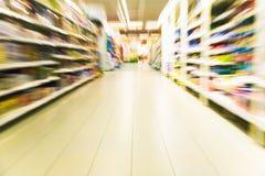 Inside a large supermarket