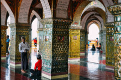 Inside a large temple in Mandalay. Stock Image