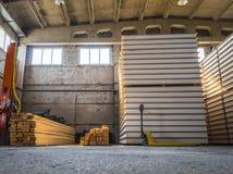 Inside the large warehouse. Stock Photos