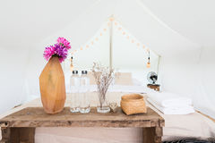 Inside a large white tent camp Royalty Free Stock Image