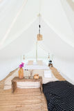 Inside a large white tent camp Stock Photography