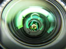 Inside of a lens. A close-up look inside of zoom lens with visible aperture leafs Stock Images