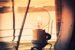Inside of a lighthouse showing the light bulb interior. Royalty Free Stock Photo