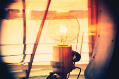 Inside of a lighthouse showing the light bulb interior. Closeup inside of old lighthouse showing the light bulb interior Stock Image
