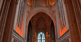 Inside Liverpool Cathedral stock images