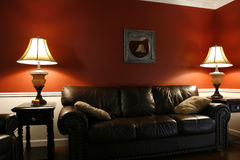 Inside the Living Room with a Couch and Lamps Royalty Free Stock Photo