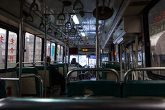 Inside a local bus in Keelung, Taiwan Royalty Free Stock Photo