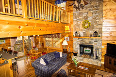 Inside a Log Cabin Stock Image
