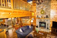 Inside a Log Cabin Stock Image