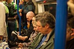 Inside a London underground train Stock Photography