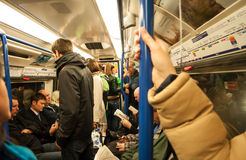 Inside a London underground train Royalty Free Stock Images