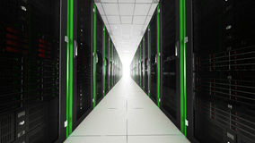 Inside the long server room tunnel with bright end Royalty Free Stock Images