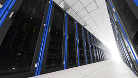 Inside the long server room tunnel with bright end Stock Photos