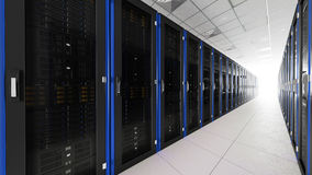 Inside the long server room tunnel with bright end Royalty Free Stock Image
