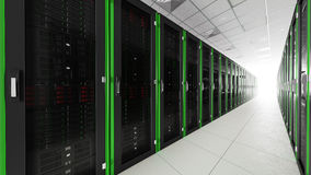 Inside the long server room tunnel with bright end Royalty Free Stock Photo