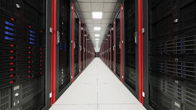 Inside the long server room tunnel. 3d render Royalty Free Stock Photos