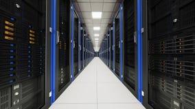 Inside the long server room tunnel Stock Image