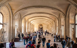 Inside the Louvre Museum, Seine Louvre hall. Royalty Free Stock Photography