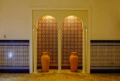 Inside of a luxury brick hotel Stock Photos