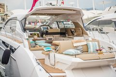 Inside of luxury sport Yacht. Salone Nautico in Genova, Italy 2017. On display big modern luxury white yacht. Interior of a commercial yacht royalty free stock photos