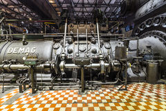 Inside the machine hall for heating at Volklingen Ironworks Royalty Free Stock Images