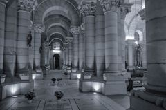 Inside Madrid Cathedral in black and white royalty free stock images