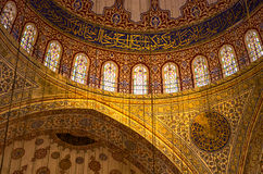 Inside the magnificent blue mosque, Istanbul, Turkey Royalty Free Stock Photography