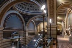 Inside the main building of Uppsala University. Beautiful historical interior in main entrance stock photo