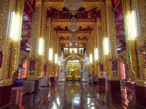 Inside main church of Thai temple Royalty Free Stock Images