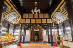 Inside of main church of Wat Jong Klang, Maehongson, Thailand Royalty Free Stock Image