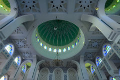 Inside main dome of Sultan Ahmad Shah 1 Mosque in Kuantan Royalty Free Stock Image