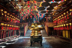Inside the main hall of Man Mo Temple, Sheung Wan, Hong Kong Royalty Free Stock Image