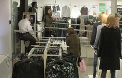 Inside a main store with sales and security guard before christmas campaign Stock Photography