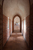 Inside Malbork castle. Narrow corridor in Malbork castle, Poland Stock Images