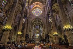 Inside of the Mallorca cathedral royalty free stock image
