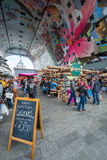Inside the Market Hall in Rotterdam on a busy day Stock Images