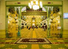 Inside of Masjid Sultan or Sultan Mosque Singapore When Muslim Praying. Inside of Masjid Sultan or Sultan Mosque When Muslim Praying: Singapore - April 15 2018 stock photography