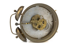 Inside mechanism of old alarm clock Royalty Free Stock Photo