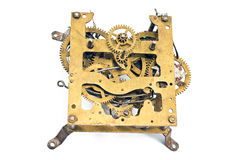 Inside mechanism of old alarm clock Stock Image