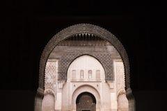 Inside the medersa Ben Youssef in Marrakesh, Morocco Stock Photography
