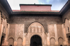 Inside the medersa Ben Youssef in Marrakesh, Morocco Royalty Free Stock Photo