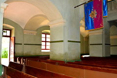 Inside the medieval fortified church in Cristian, Transylvania. Cristian (Neustadt im Burzenland German) is a village in the county of Brasov, Transylvania Stock Photos
